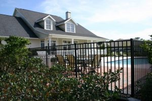 Residential Fence in Chapel Hill, North Carolina surrounding a swimming pool.